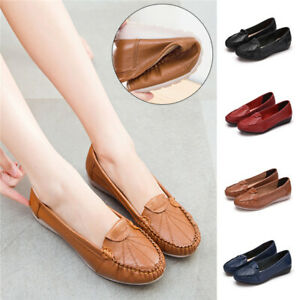 Women-Comfy-Loafers-Real-Leather-Work-Pumps-Non-Slip-School-Boat-Shoes-Plus-Size