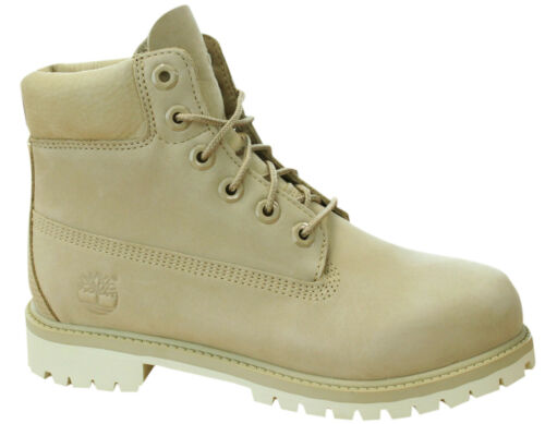 Timberland 6 Inch Premuim Waterproof Kids Juniors Leather Boots Cream A1KOU D121
