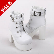 MSD Shoes 1/4 BJD Shoes Supper Dollfie Boots Dollmore Luts AOD White High heels