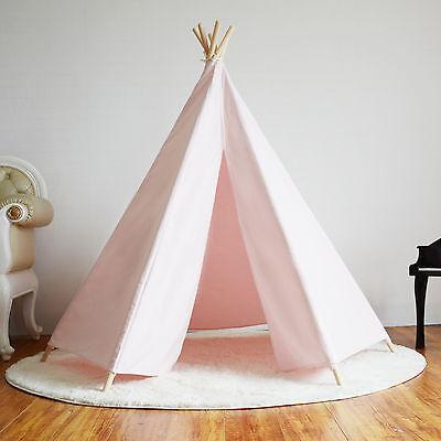 Hexagonal Cotton Canvas Kids Girls Pink Teepee Indoor Outdoor Tent w/ Floor Mat