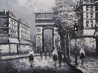 Paris Black White large oil painting canvas French original contemporary modern