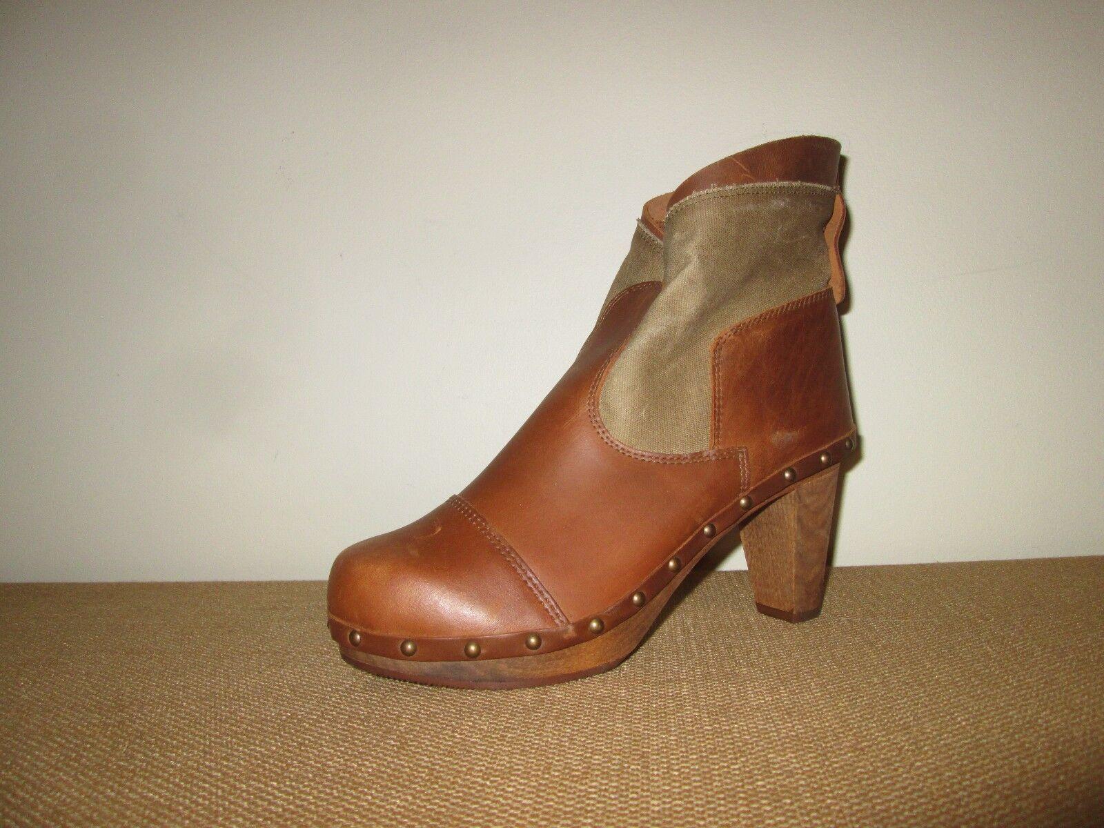 SANITA Etenia Plateau  Brown Leather & Canvas Clog Ankle Boots 3