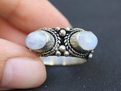 Big Solid Tibetan 925 Silver Plated Two Rainbow Moonstone Gemstone Weaving Ring