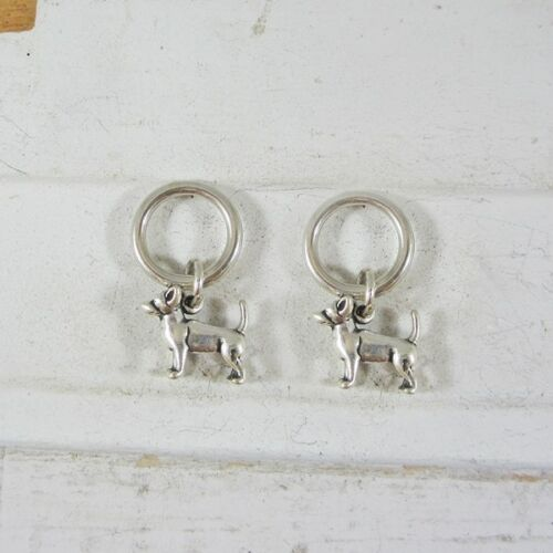 Free Shipping Set of Two Chihuahua Sterling Silver Stitch Markers