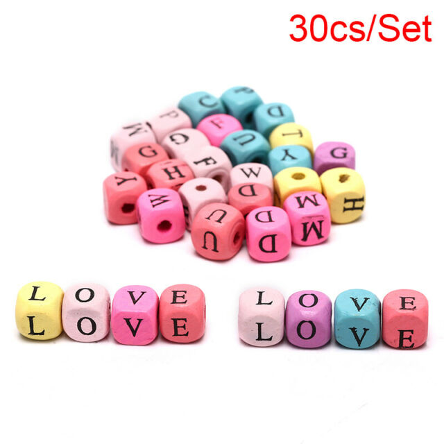 30pcs Mixed Alphabet Letter Square Charm Wood Spacer Beads Jewelry DIY Maki%fNSJ