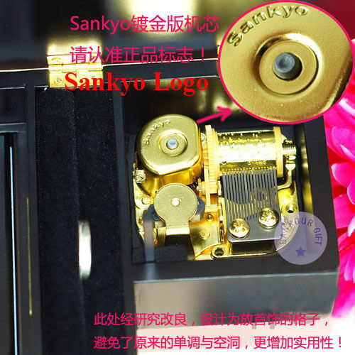 """Play /""""Greensleeves/"""" Wooden Piano Music Box With Sankyo Musical Movement Black"""