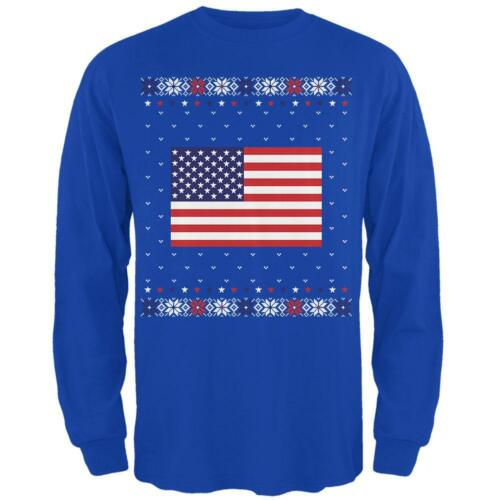 4th of July USA American Flag Ugly Christmas Sweater Mens Long Sleeve T Shirt