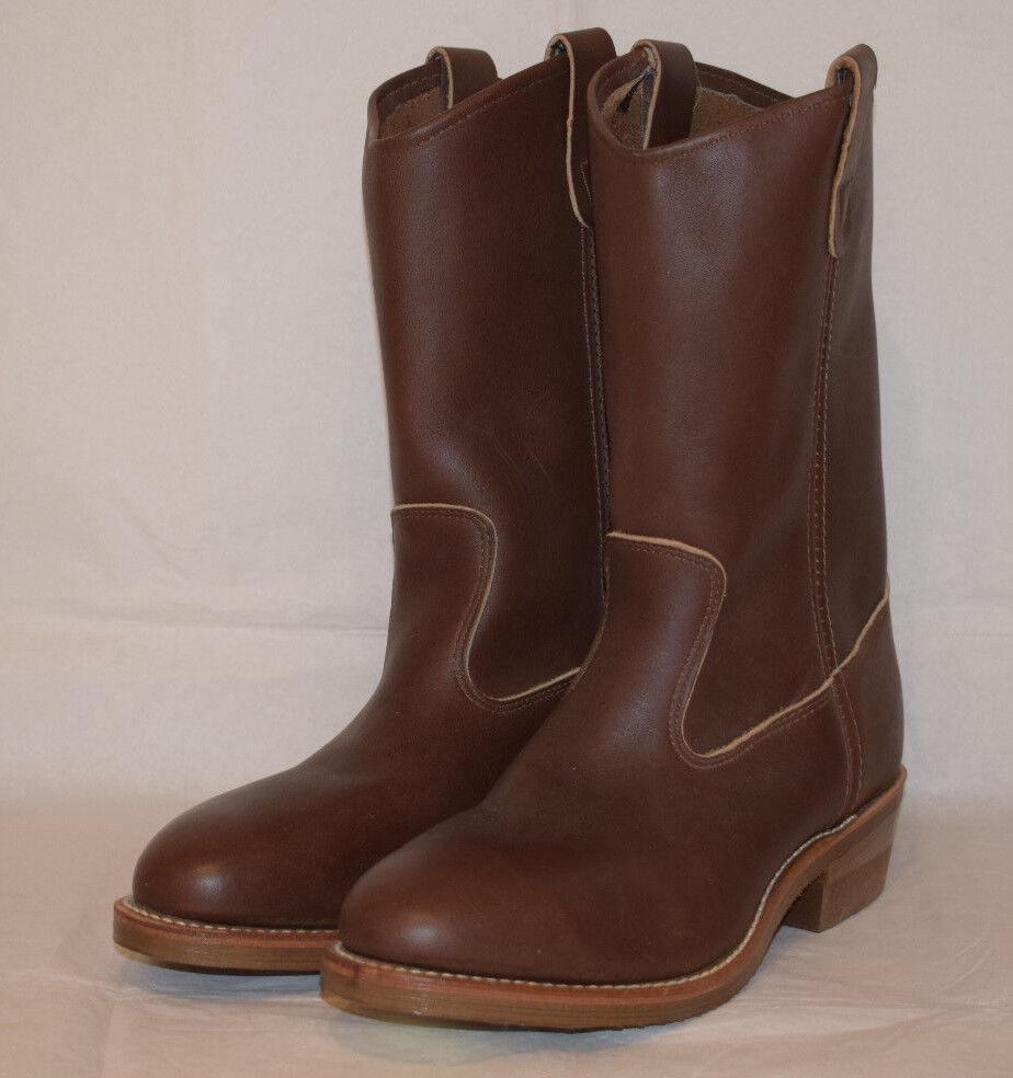 Edad de hierro Puntera De Acero botas De Cuero Marrón Vaquero Trabajo Slip On Rigger