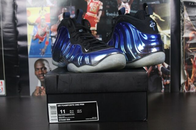be0b63f82d242 NIKE AIR FOAMPOSITE ONE USED SIZE 11 BLUE MIRROR SILVER ROYAL BLACK 575420  008