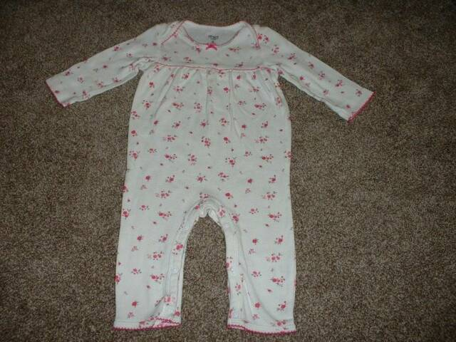Carter's Baby Girls White Pink Floral One-Piece Outfit Size 6 Months 6M Spring