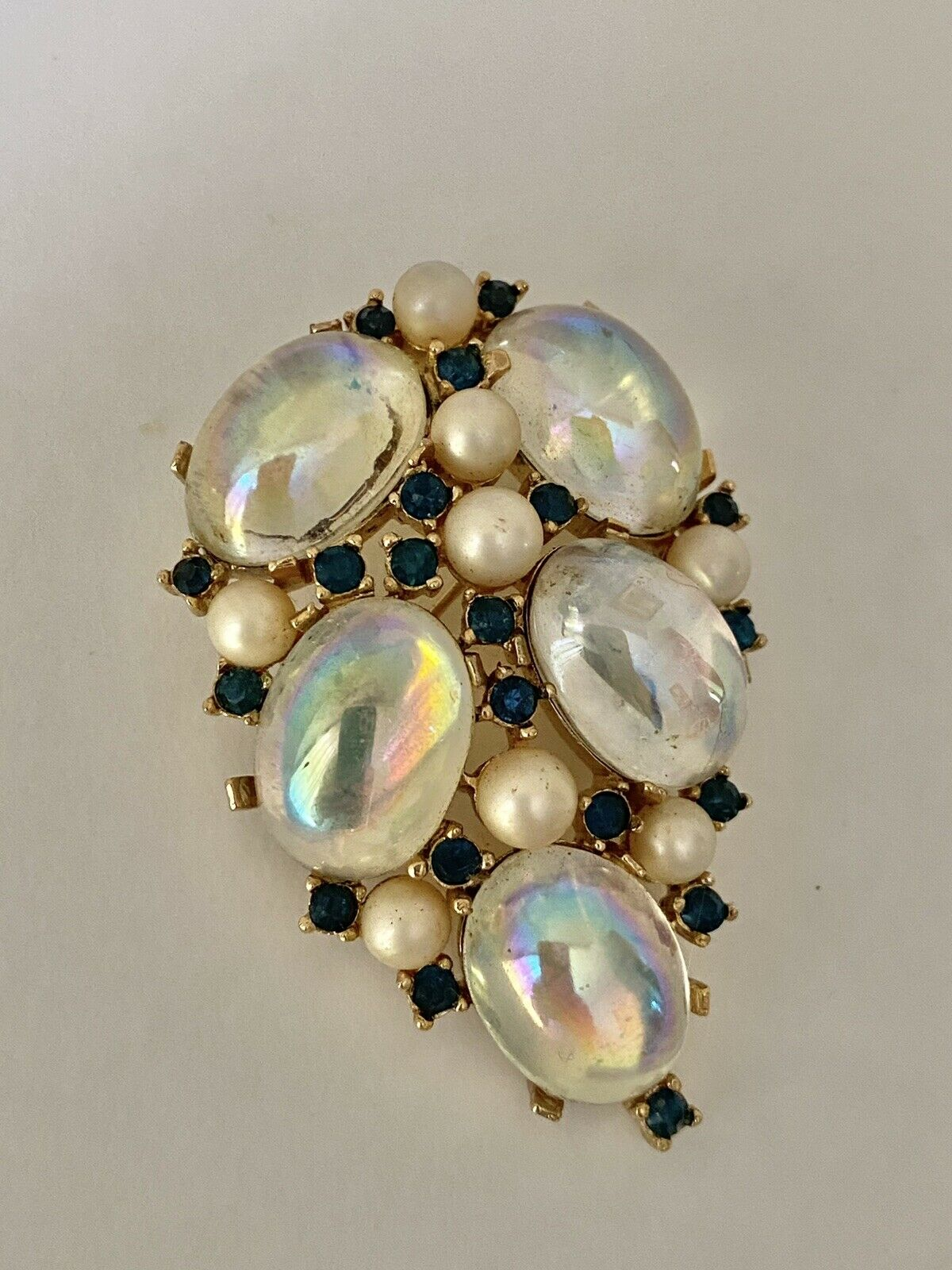 Trifari Sapphire & Pearl Brooch 1950s/60s - image 2