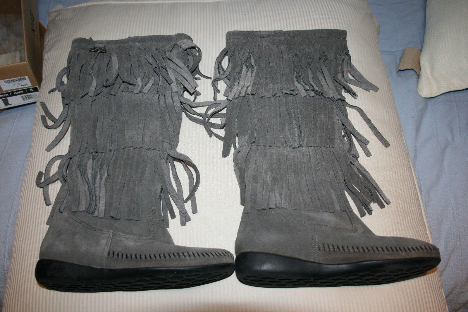 KOs nos Tinker Gamuza Cuero gris botas en Caja Damas Tassle flecos  UK Talla 3