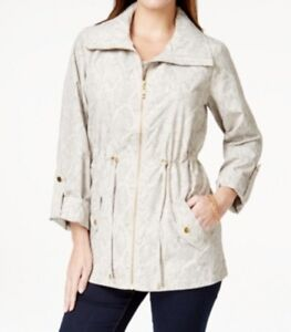 JM-Collection-Women-039-s-Printed-Anorak-Jacket-Textured-Stonewall-Beige-Petite-PP