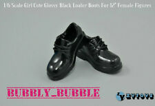 "1/6 Girl Cute Glossy BLACK Loafer Shoes For 12"" Phicen Female Body USA"