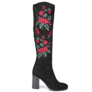LIBBY EDELMAN Sz 8 Sullivan Women's Fashion Embroidered Dress Boots High Heels