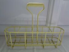 ANCIEN PORTE BOUTEILLE CASIER EN METAL GAINE PLASTIFIE JAUNE