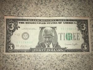 1993 slick reserve note 3 dollar president bill clinton novelty