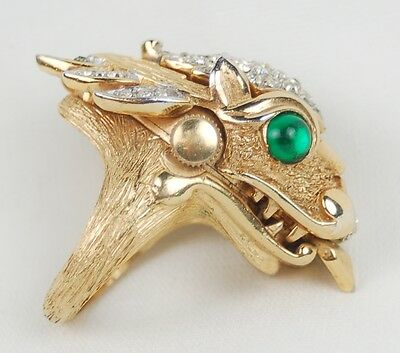 1960s Crown Trifari Something Wild Collection Dragon Ring w Concealed Watch