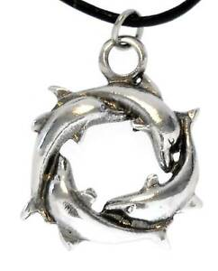 Pewter SURFBOARD DOLPHIN Pendant on Adjustable Cord Necklace Surfer Board Black