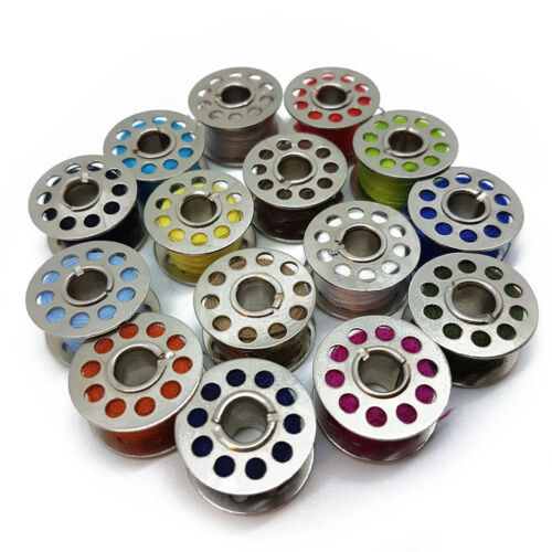 10PC Standard Sewing Machine Metal Bobbins//Spools Assorted Colour Threads Home
