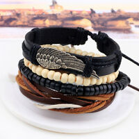 Adjustable Fashion Braided Leather Bead Bracelet Women's Men's Punk Jewelry Gift