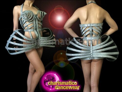 CHARISMATICO Glittery Silver Vinyl Madonna Styled Boned Cage Corset Hip Dress