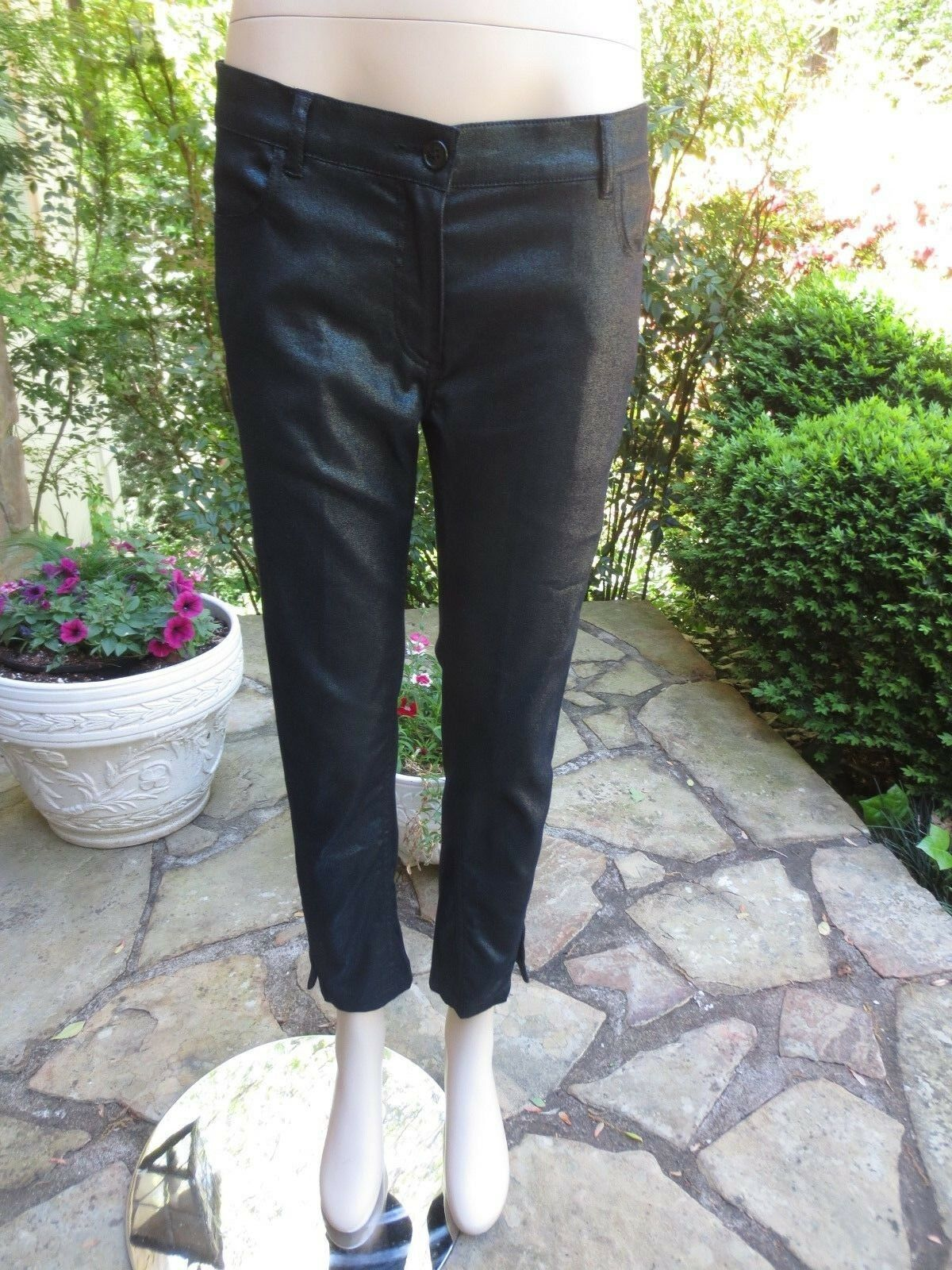 ANN DEMEULEMEESTER Dark Green Metallic Skinny Crop Jeans 40 NEW WITH TAGS  630