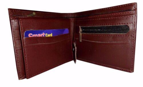 Men/'s GENUINE LEATHER WALLET Purse Bi-Fold Credit Business ID Card Holder Brown