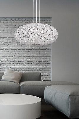 Leuchte Deckenleuchte Wohnzimmer Lampe E27 Schlafzimmer weiss grau  Pendelleuchte | eBay