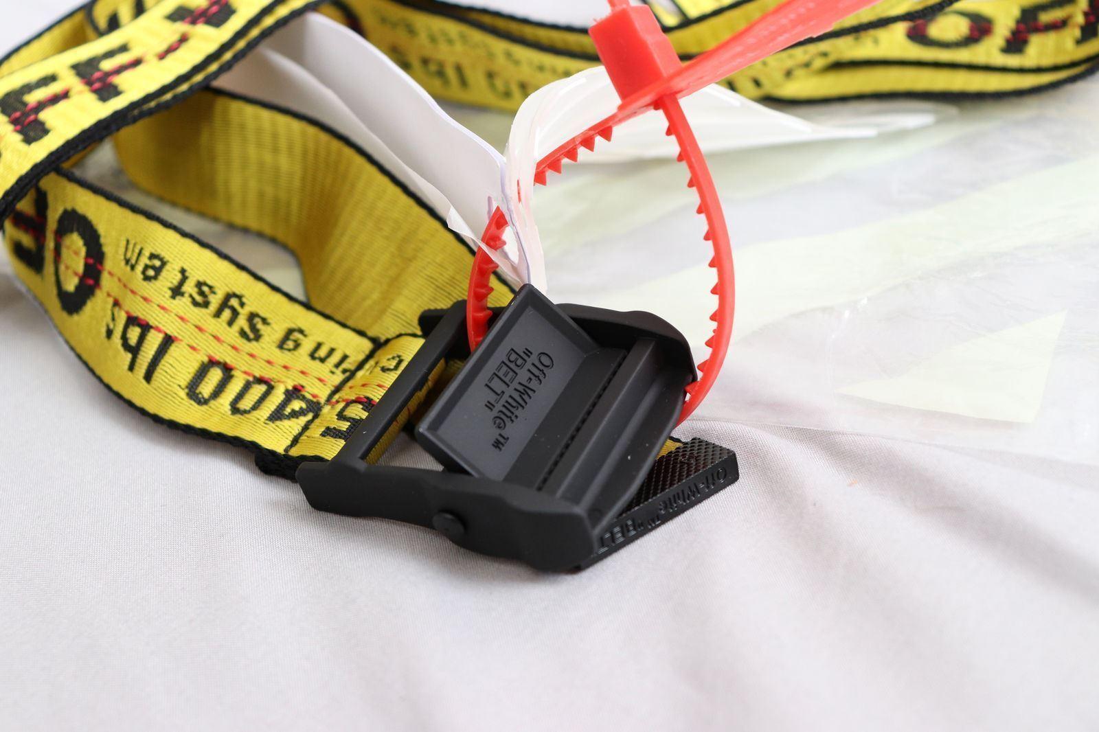 professionale nuovo stile miglior valore CINTURA CRAVATTA INDUSTRIALE off white Fibbia in-ferro giallo in 100-200CM