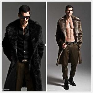 f8715540350d Men Warm Faux Fur Coat Parka Outerwear Long Thick Jacket Winter ...