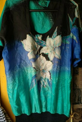 Yolanda Silk Shirt Blouse Top hand painted, handma