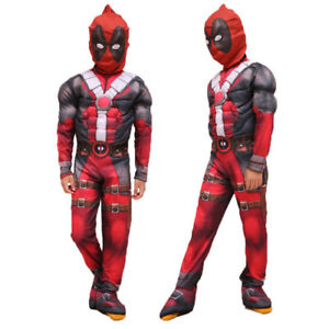 X Men Deadpool Karneval Kostum Kinder Jungen Jumpsuit Maske