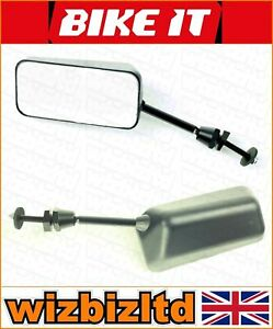 Bikeit-Paar-F1-Schwarz-40mm-Kurz-Universal-Verkleidung-Halterung-Spiegel