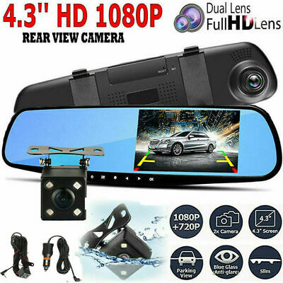 "7/"" HD 1080P Car DVR Dual Lens Dash Cam Rearview Mirror Camera Recorder Wifi"
