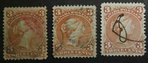 Canada #25 Used Large Queen Lot Of 3, No Tears Or Thins