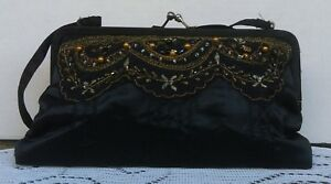 Vintage-Women-039-s-Black-Satin-Beaded-Polyester-Clutch-Purse-Made-In-India-1990-039-s