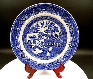 BLUE-WILLOW-ENGLAND-TRANSFERWARE-LOVE-BIRDS-9-1-2-034-DINNER-PLATE