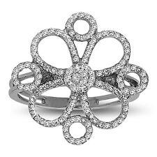 .925 Sterling Silver Four Leaf Clover Flower CZ Ring Hand Set