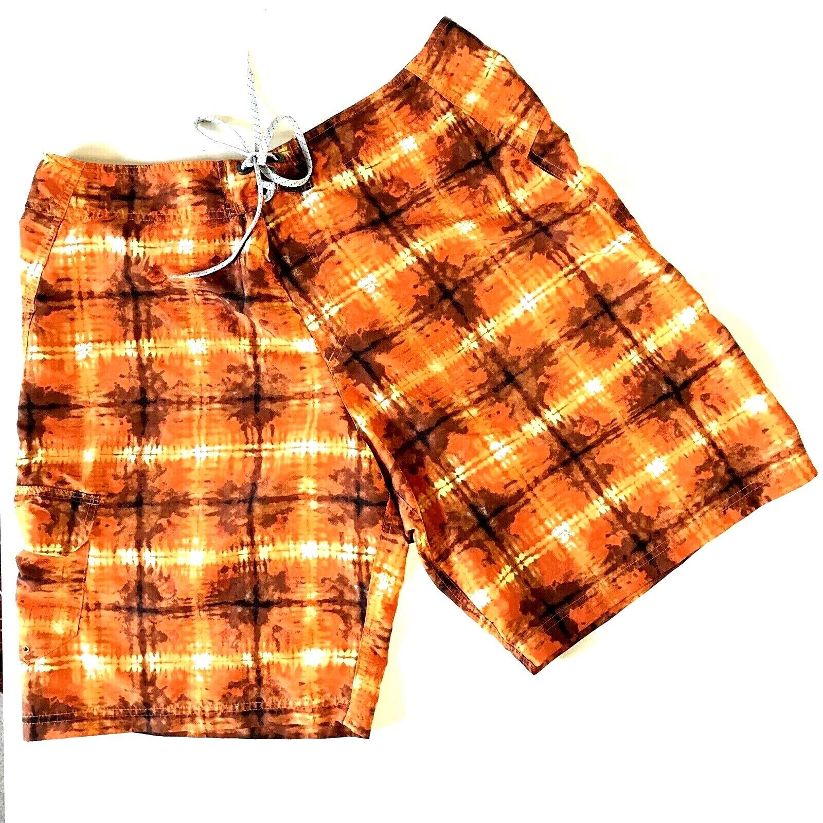 Columbia Mens Shorts 36 Board Swim Trunks orange Tie Dye 69742