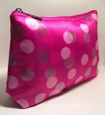 CLINIQUE Cosmetic Makeup Bag PINK & SILVER POLKA DOT PRINT - BRAND NEW
