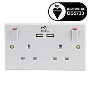 Image Is Loading Uk Double Socket Usb 13a 2 Gang Electric