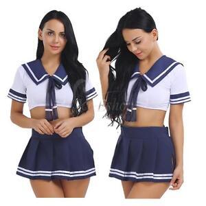 HOT Womens Sailor Moon School Uniform Sailor Suit Cosplay Costume Dress Tops