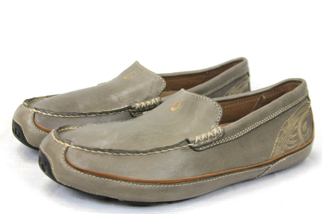 Scarpe casual da uomo Olukai Lokahi Leather All-Weather Shoes Slip-Ons Olive Green NEW 10129-2626 $175
