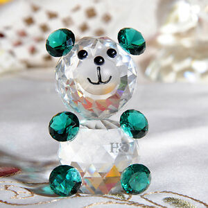 Green-Xmas-Crystal-Glass-Animal-Figurines-Bear-Paperweight-Collectibles-Ornament