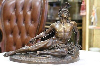 """Bronzefigur 1846- Clients First ,sterbender Achill"""" Von Bildhauer Ernst Gustav Herter Berlin"""