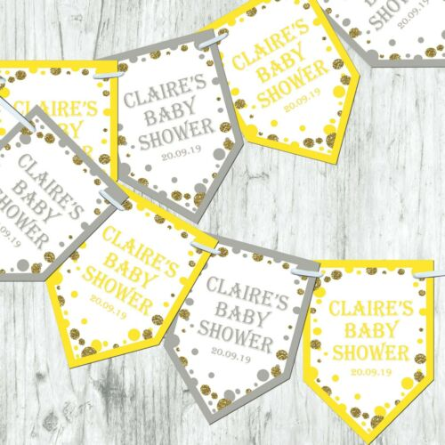 Personalised Bunting Pink Blue Yellow Baby Shower Decoration Banner Glitter