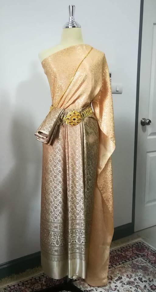 New gold Ramthai Traditional Women Asia Dress Thai Skirt Cloth Shawl Wedding