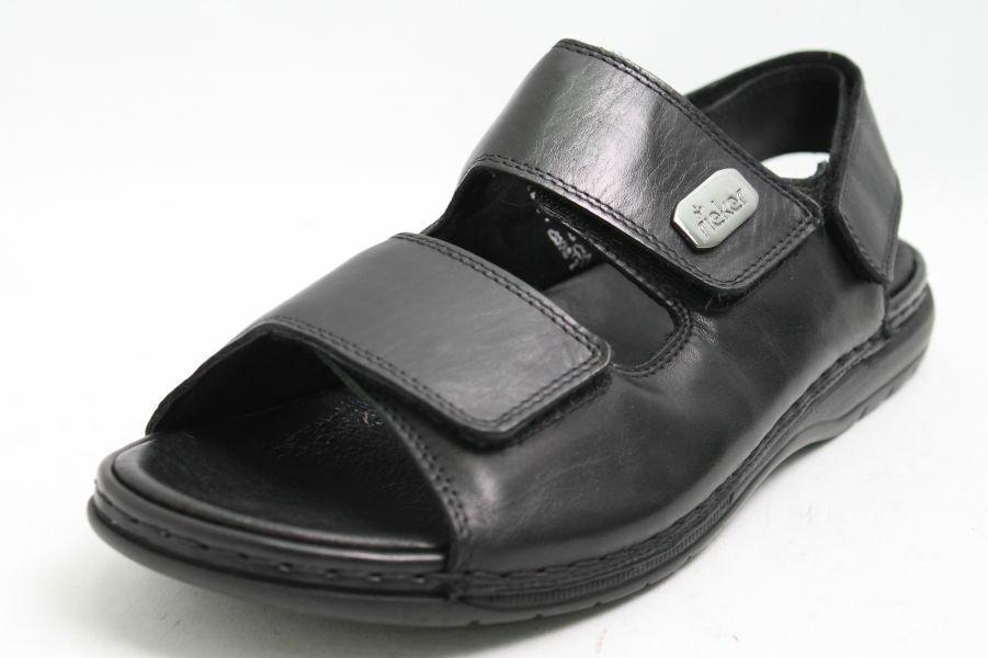 Rieker Sandalen schwarz Leder Klettverschluss komfort Fußbett Herren
