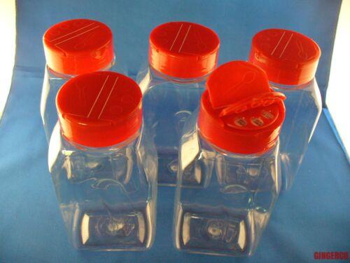 5 BULK SPICE CRAFT BOTTLE JARS 16 oz CLEAR w//Sifter Spoon Cap FREE SHIPPING 16oz